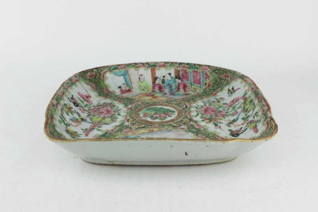 CHINESE ROSE MEDALLION SQUARE SERVING DISH - 3