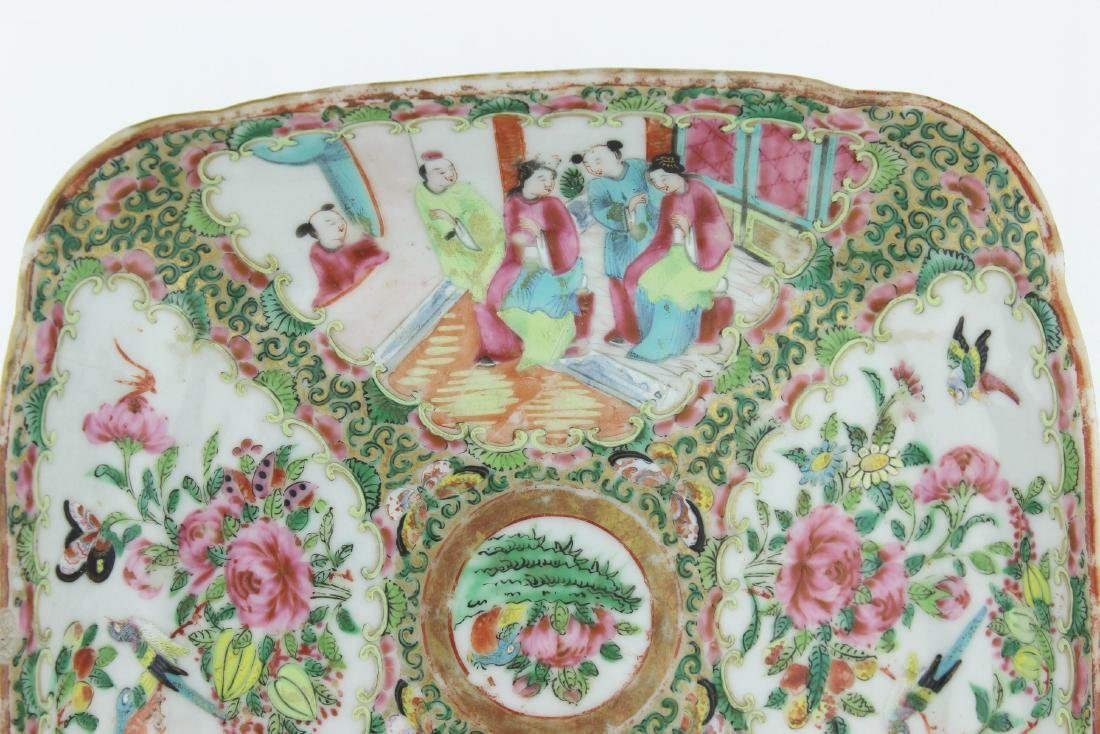 CHINESE ROSE MEDALLION SQUARE SERVING DISH - 4