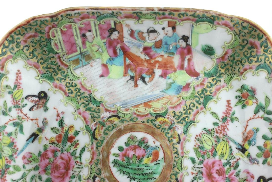 CHINESE ROSE MEDALLION SQUARE SERVING DISH - 7
