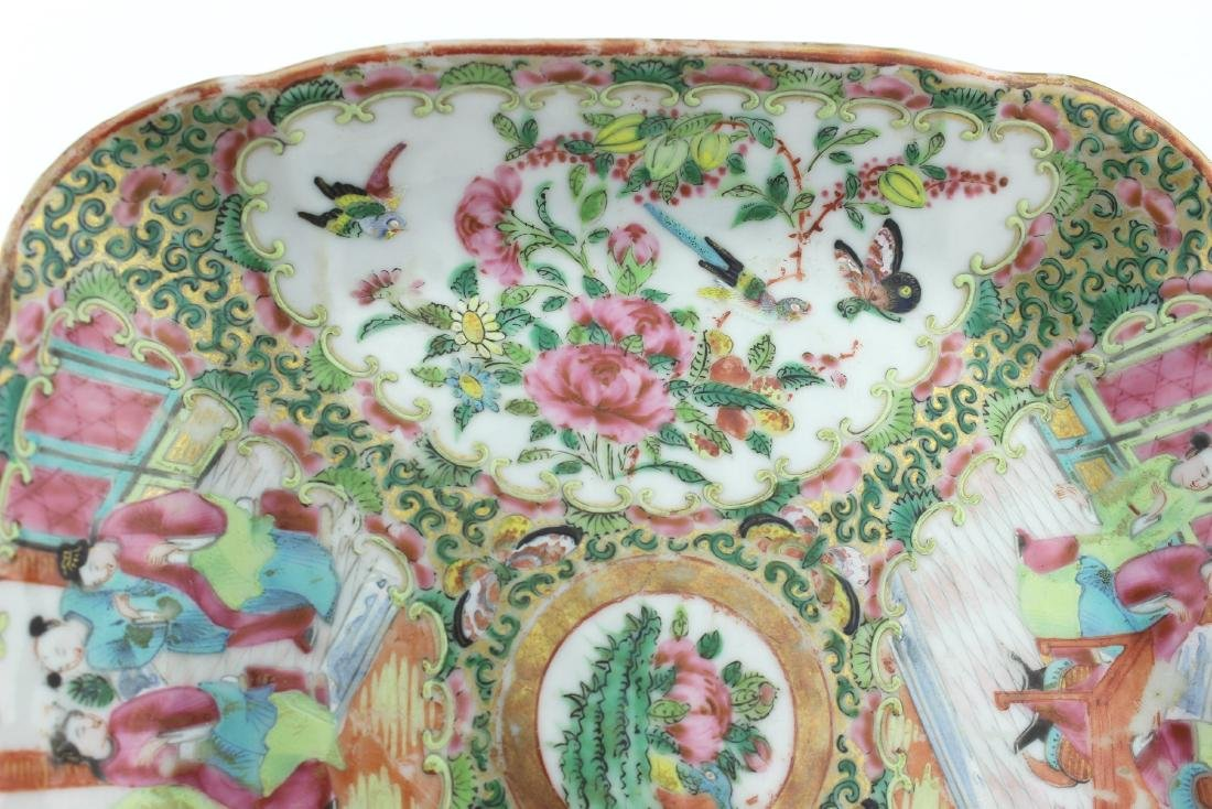 CHINESE ROSE MEDALLION SQUARE SERVING DISH - 8