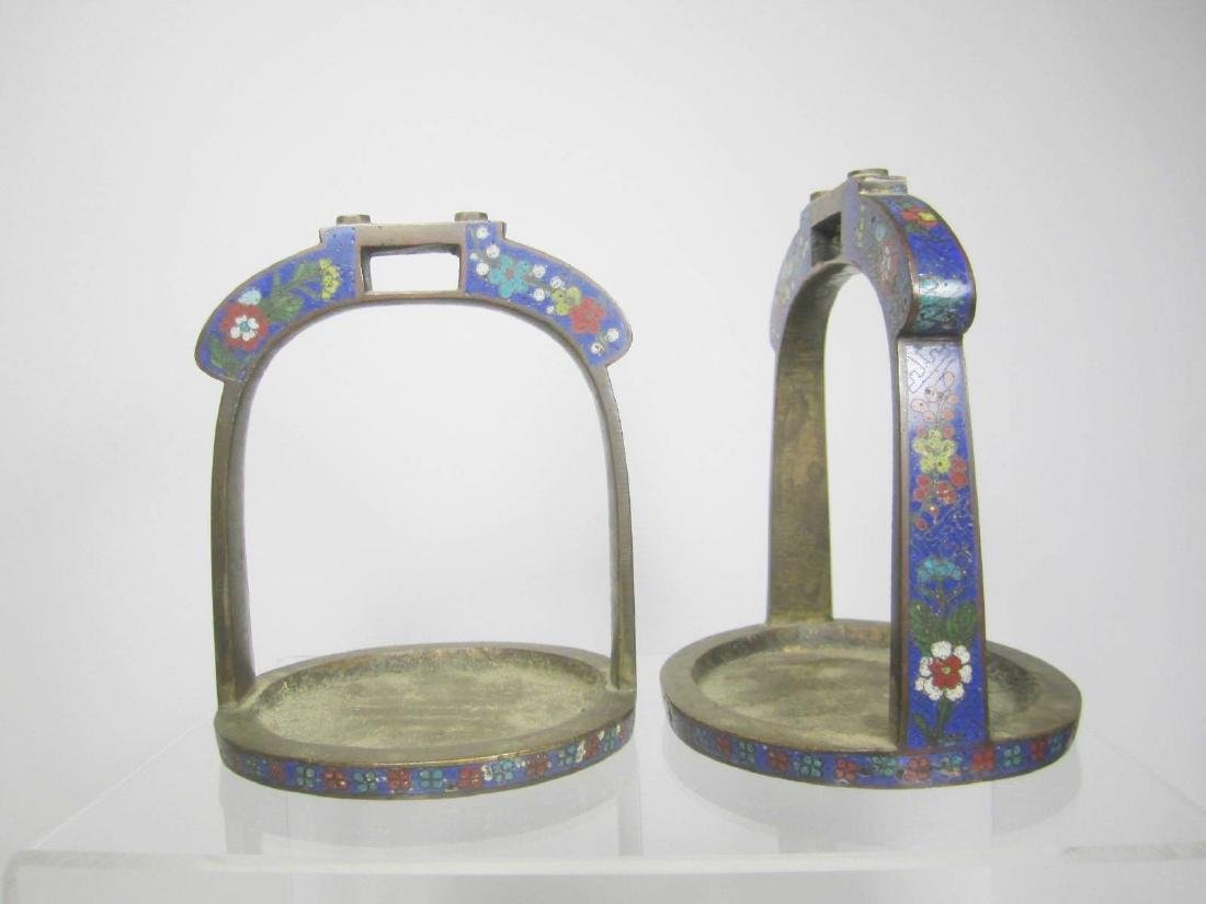 PAIR OF BRONZE CLOISONNE STIRRUPS