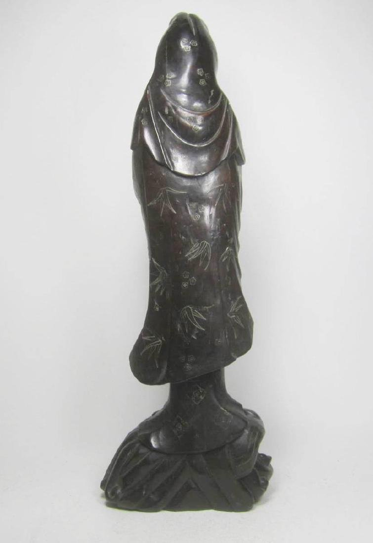 LARGE CHINESE HARD WOOD GUANYIN - 2