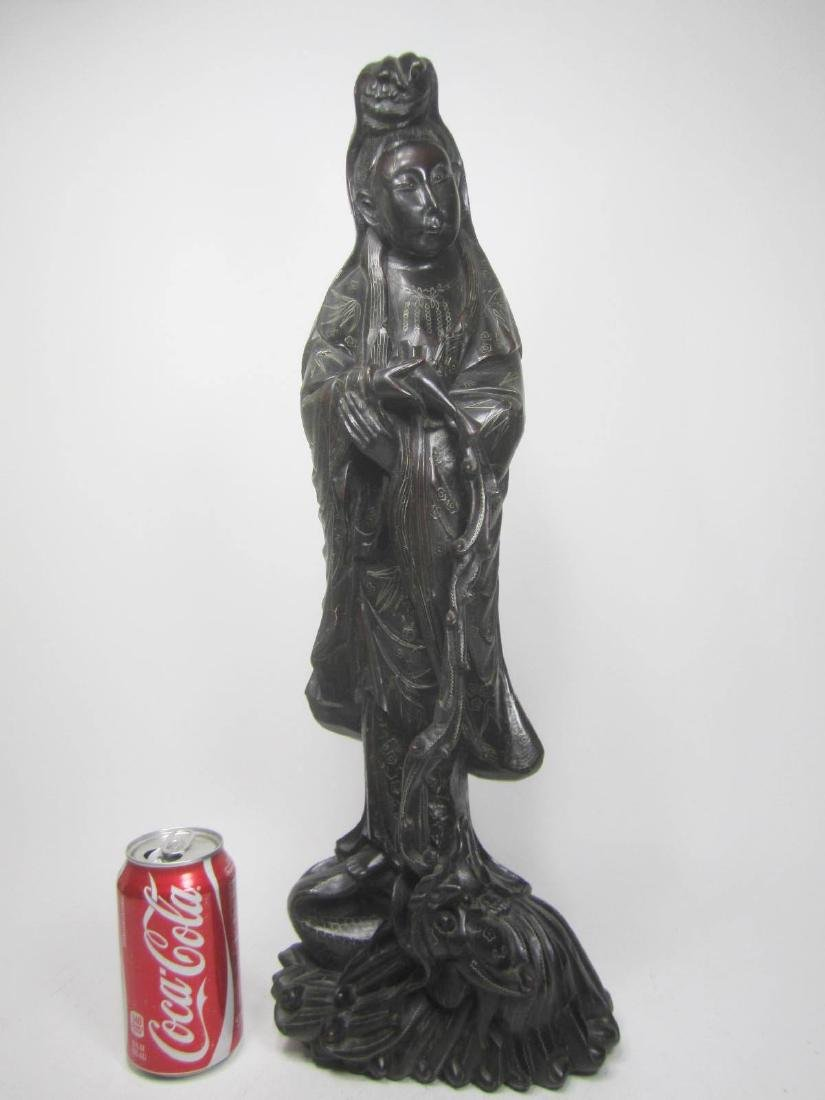 LARGE CHINESE HARD WOOD GUANYIN - 3