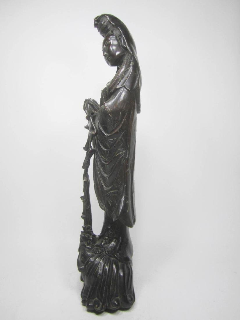LARGE CHINESE HARD WOOD GUANYIN - 4