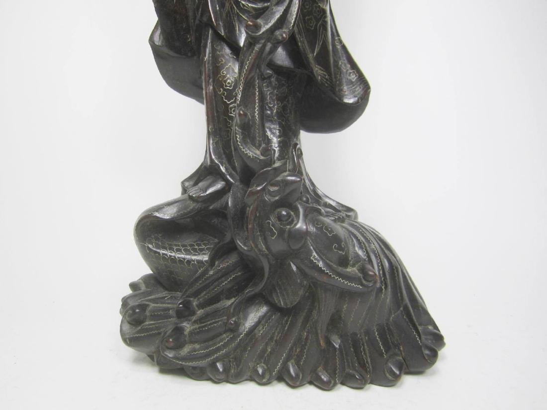LARGE CHINESE HARD WOOD GUANYIN - 6