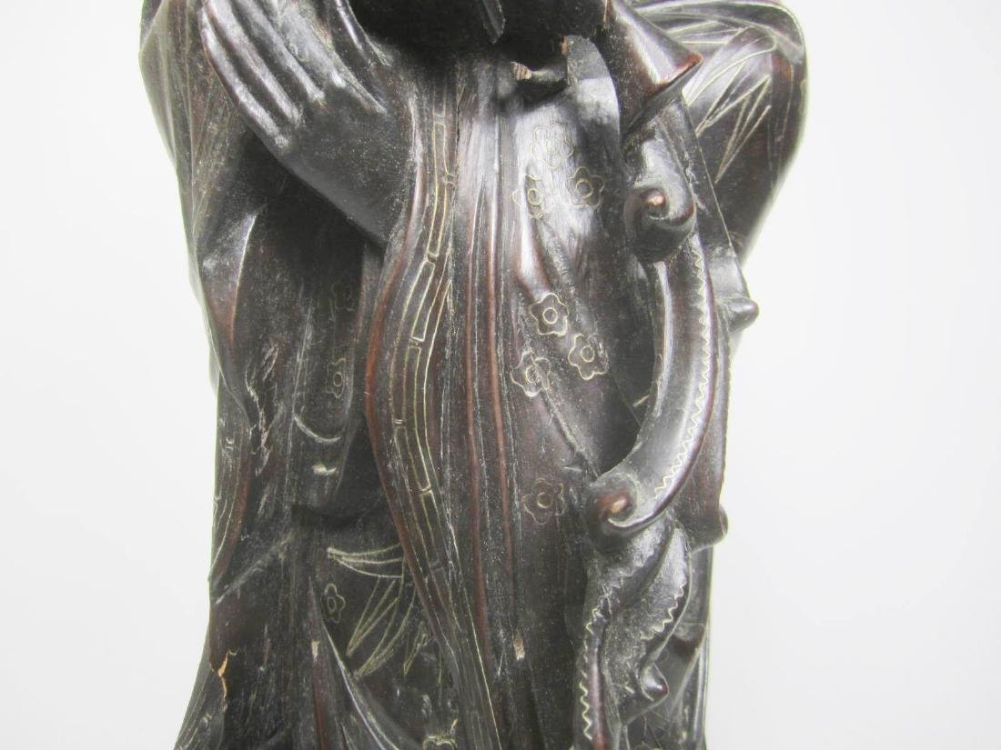 LARGE CHINESE HARD WOOD GUANYIN - 9