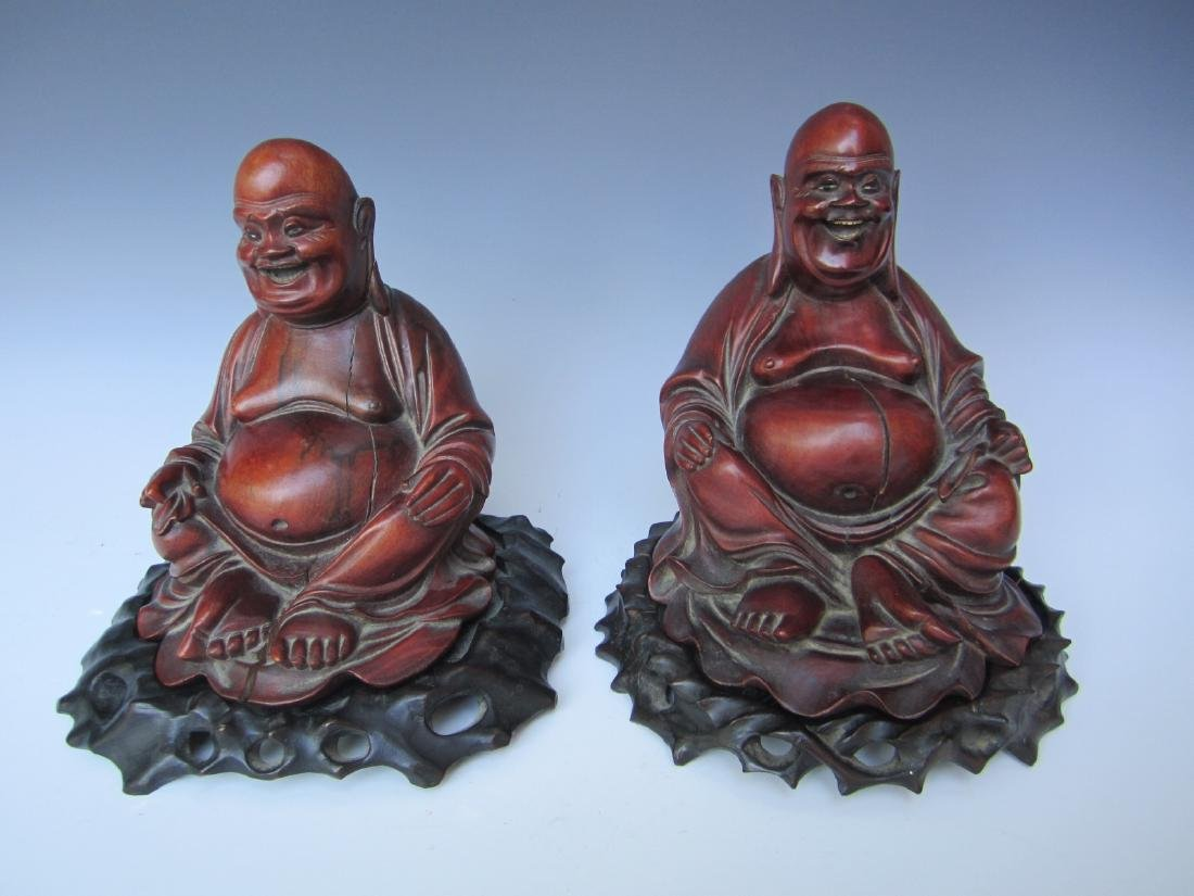 PAIR OF ANTIQUE CHINESE CARVED BUDDHAS