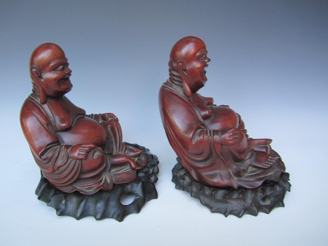 PAIR OF ANTIQUE CHINESE CARVED BUDDHAS - 2