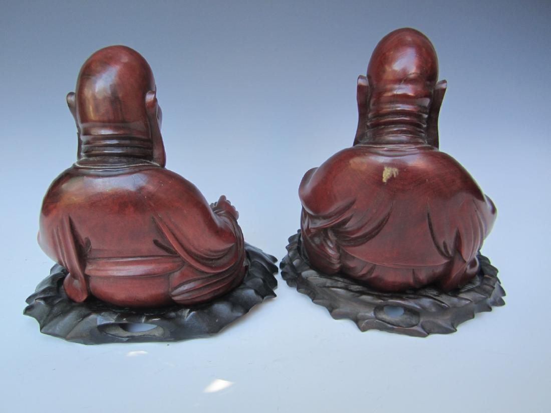 PAIR OF ANTIQUE CHINESE CARVED BUDDHAS - 3