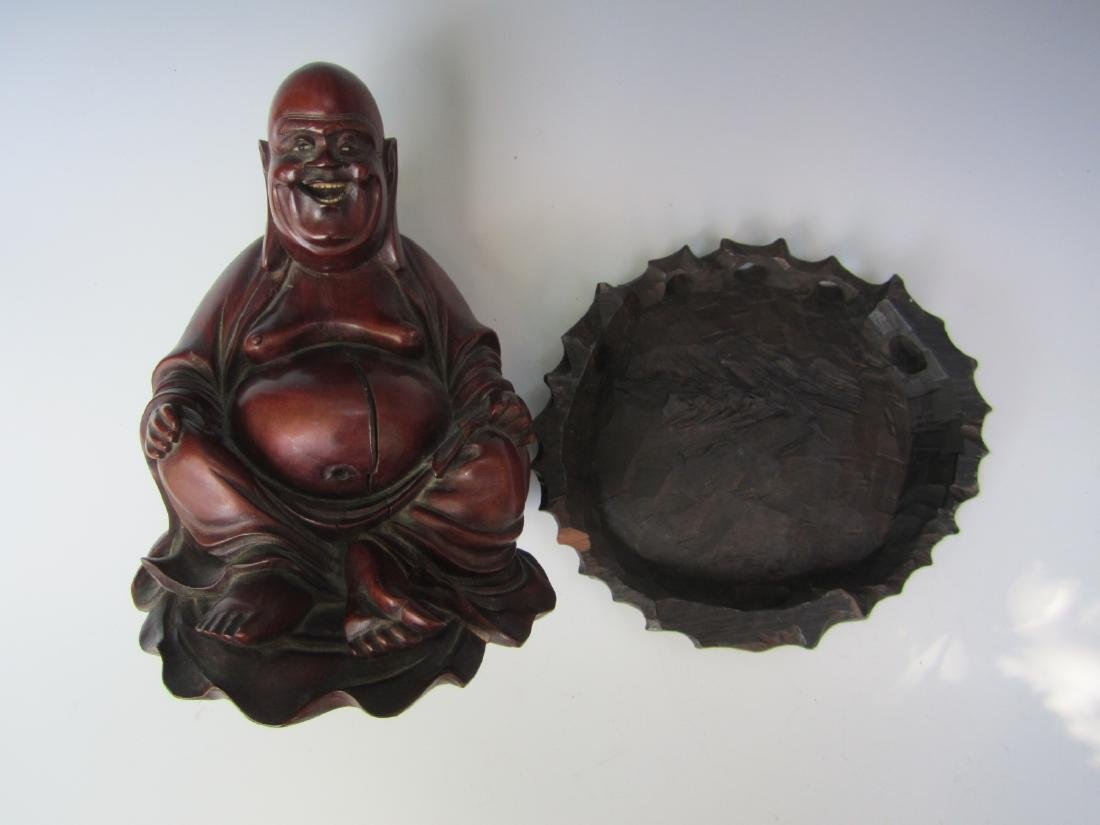 PAIR OF ANTIQUE CHINESE CARVED BUDDHAS - 5
