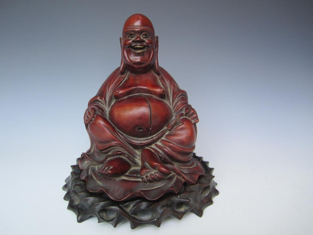 PAIR OF ANTIQUE CHINESE CARVED BUDDHAS - 9