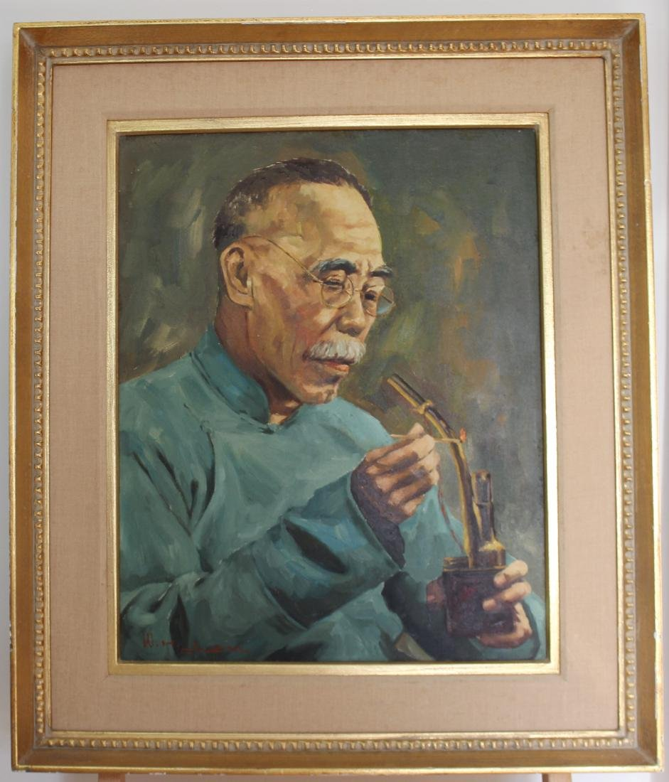 OLD GENTLEMAN, O/C,SIGNED W. H. CHEN - 4