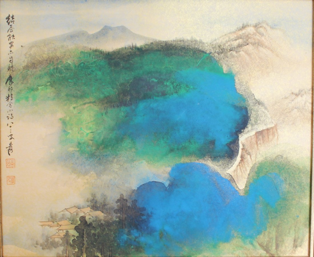 CHINESE WATERCOLOR PAINTING ON BOARD