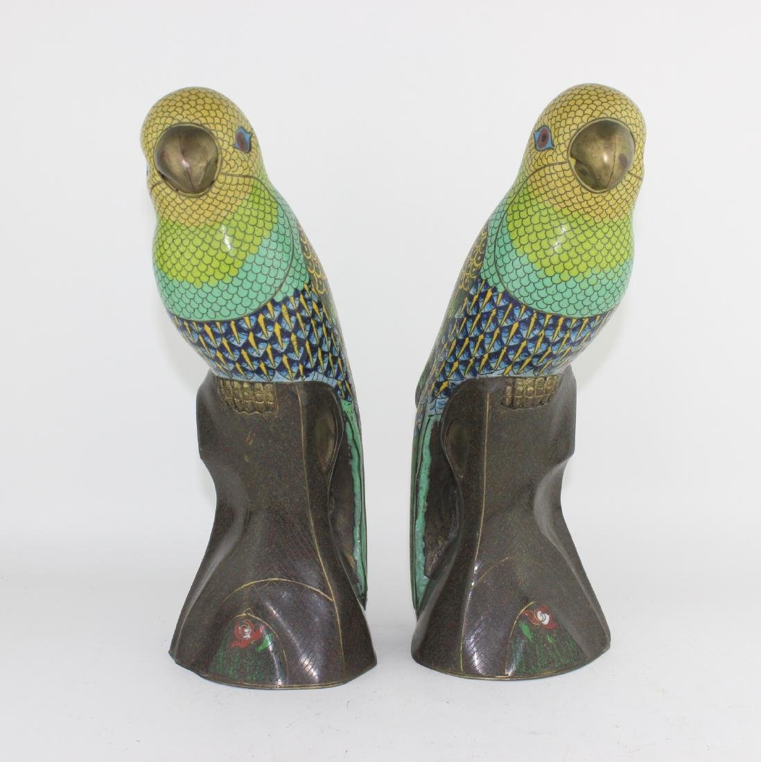 PAIR OF CHINESE CLOISONNE PARROTS
