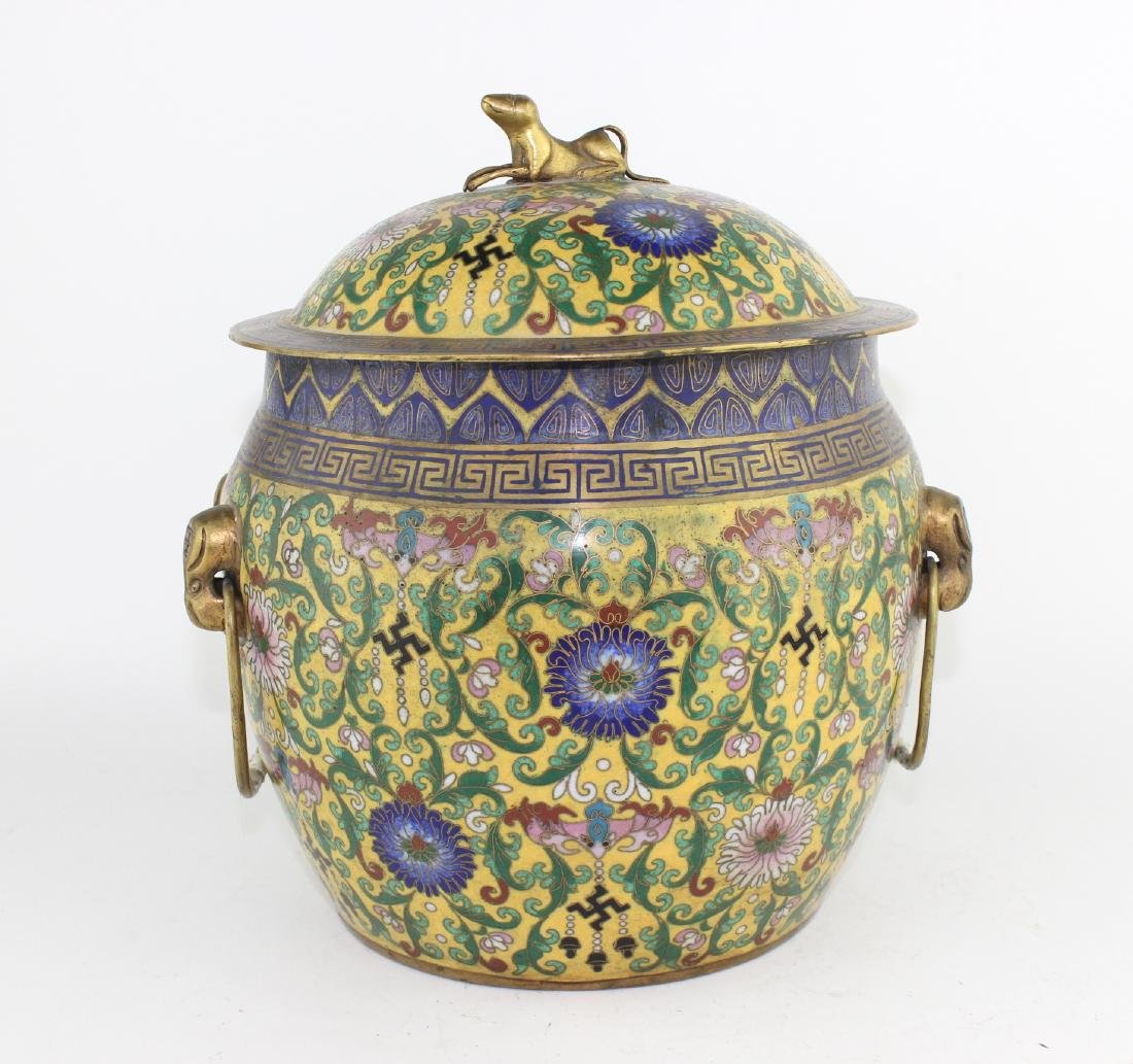 CHINESE CLOISONNE  COVERED JAR W HANDLES