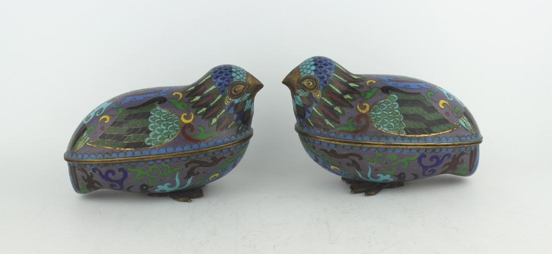 PAIR OF CHINESE CLOISONNE LIDDED BIRDS