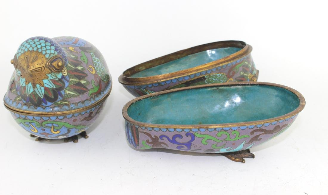 PAIR OF CHINESE CLOISONNE LIDDED BIRDS - 5