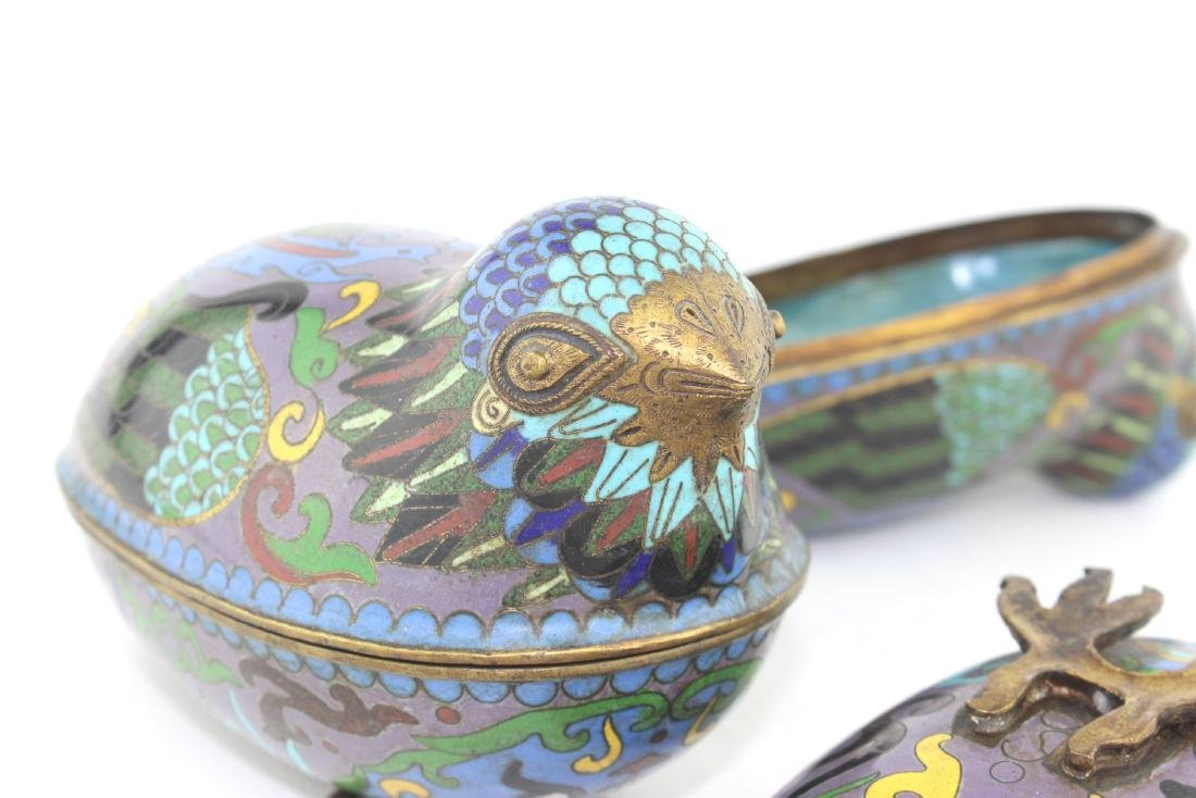 PAIR OF CHINESE CLOISONNE LIDDED BIRDS - 7