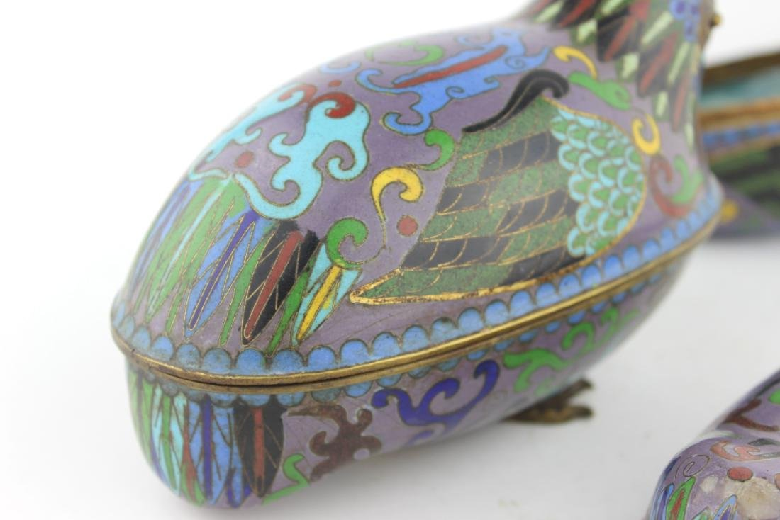 PAIR OF CHINESE CLOISONNE LIDDED BIRDS - 9