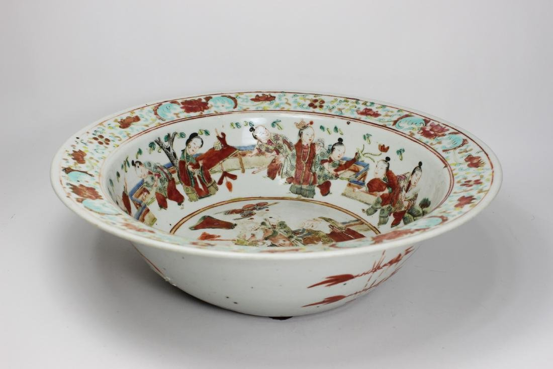 19TH C CHINESE FAMILLE ROSE BASIN