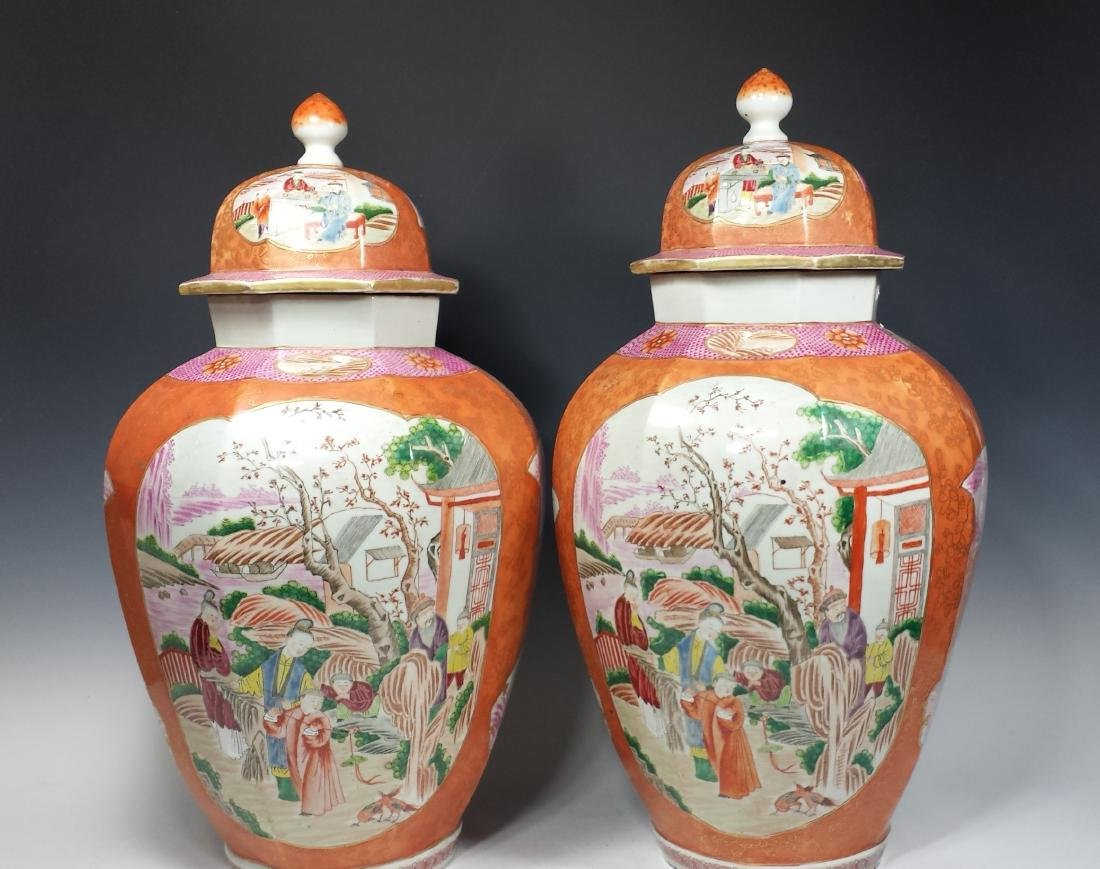 PAIR OF CHINESE EXPORT ROSE MEDALLION LIDDED VASES - 3