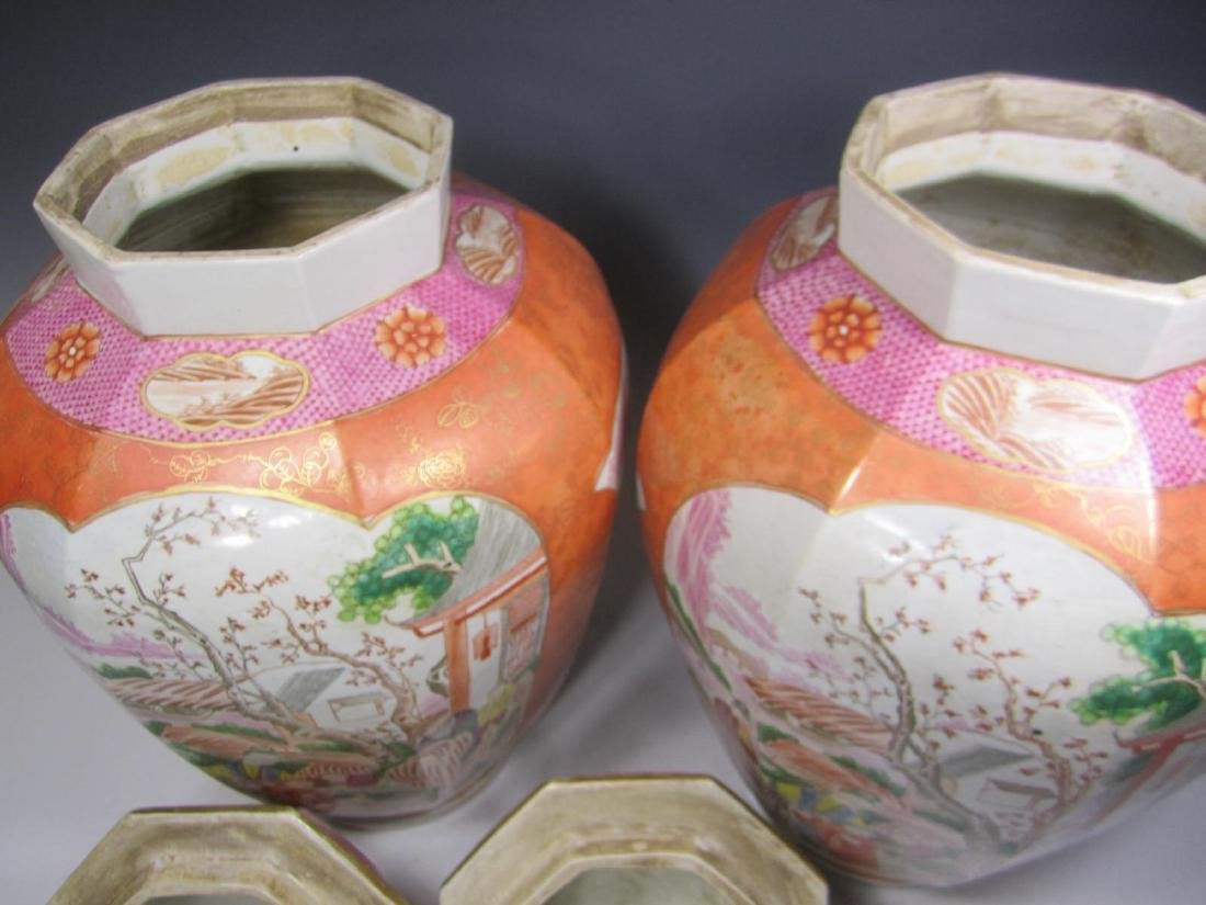 PAIR OF CHINESE EXPORT ROSE MEDALLION LIDDED VASES - 4