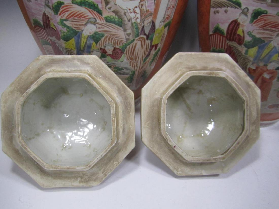 PAIR OF CHINESE EXPORT ROSE MEDALLION LIDDED VASES - 5