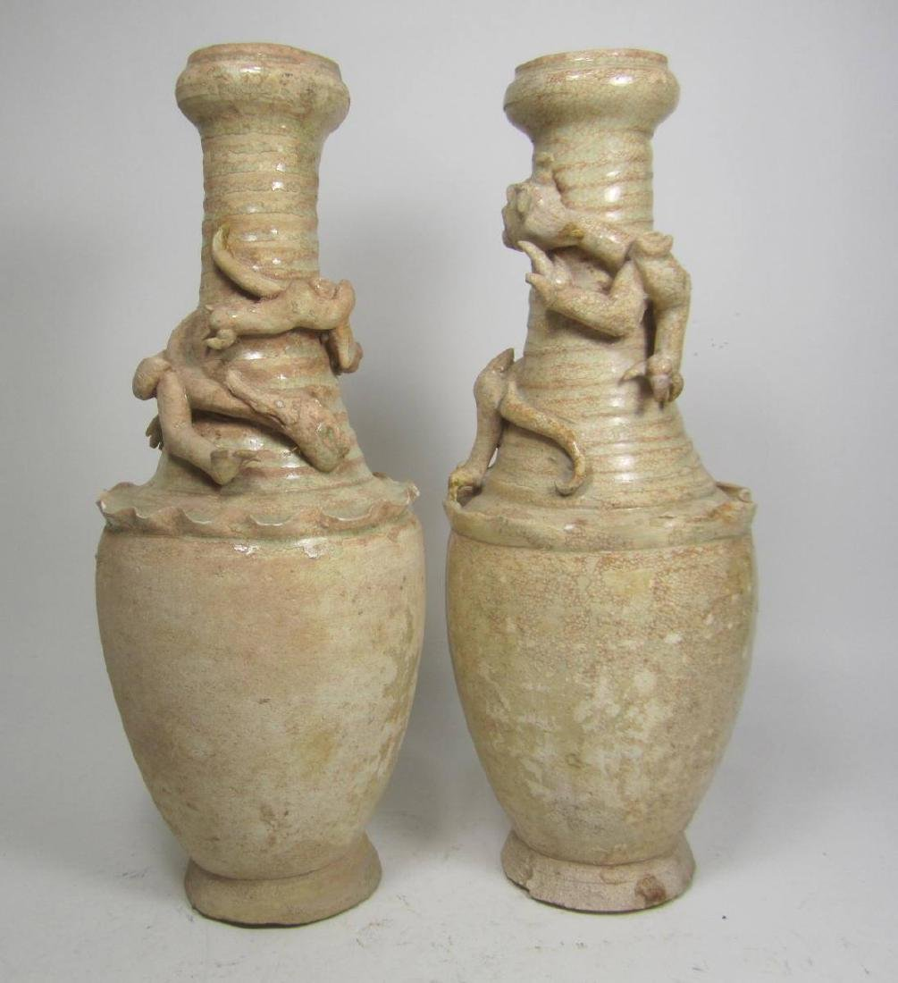 PAIR OF SONG DYNASTY GLAZE FUNERARY VASES