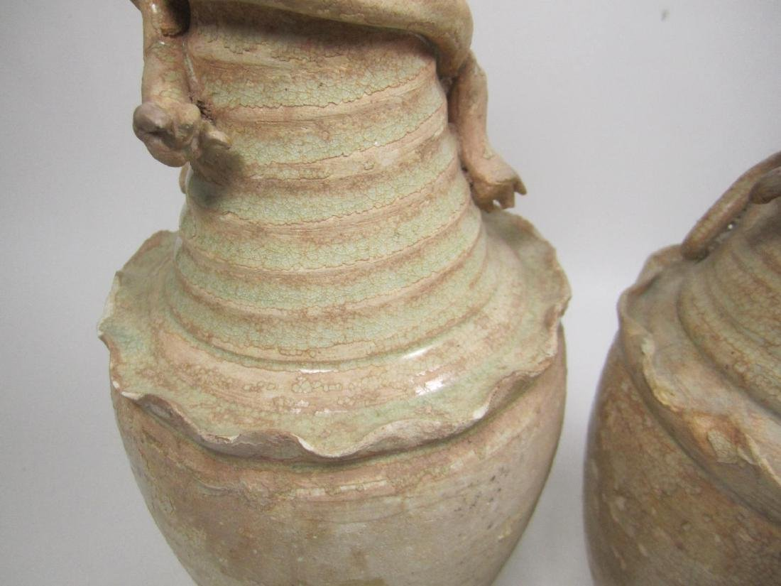PAIR OF SONG DYNASTY GLAZE FUNERARY VASES - 4