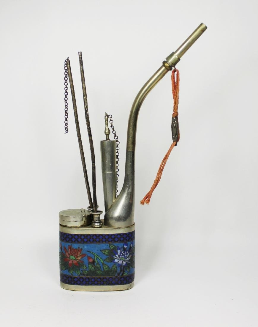 CHINESE CLOISONNE OPIUM PIPLE