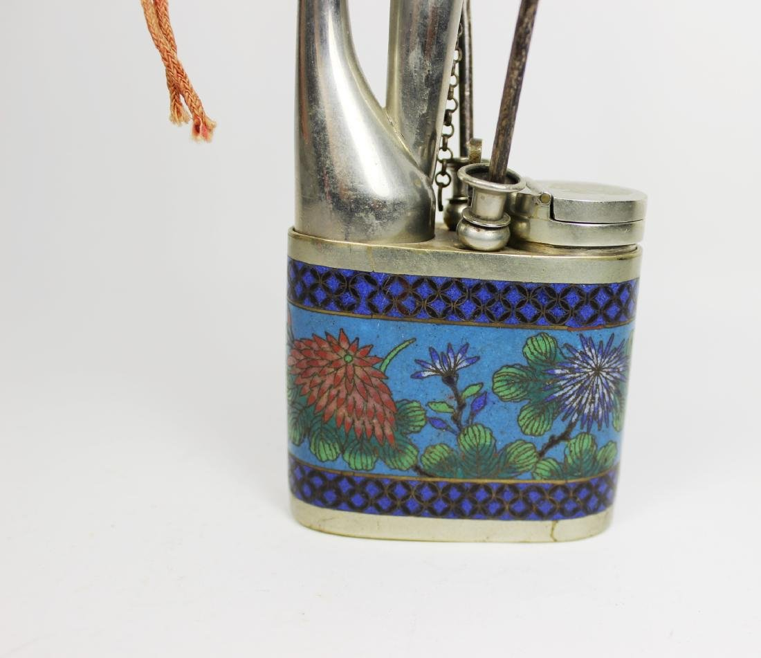 CHINESE CLOISONNE OPIUM PIPLE - 7