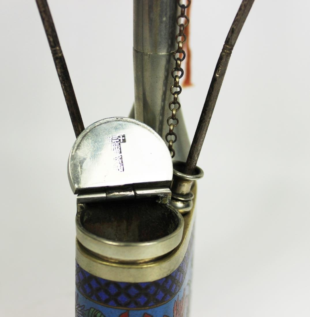 CHINESE CLOISONNE OPIUM PIPLE - 9