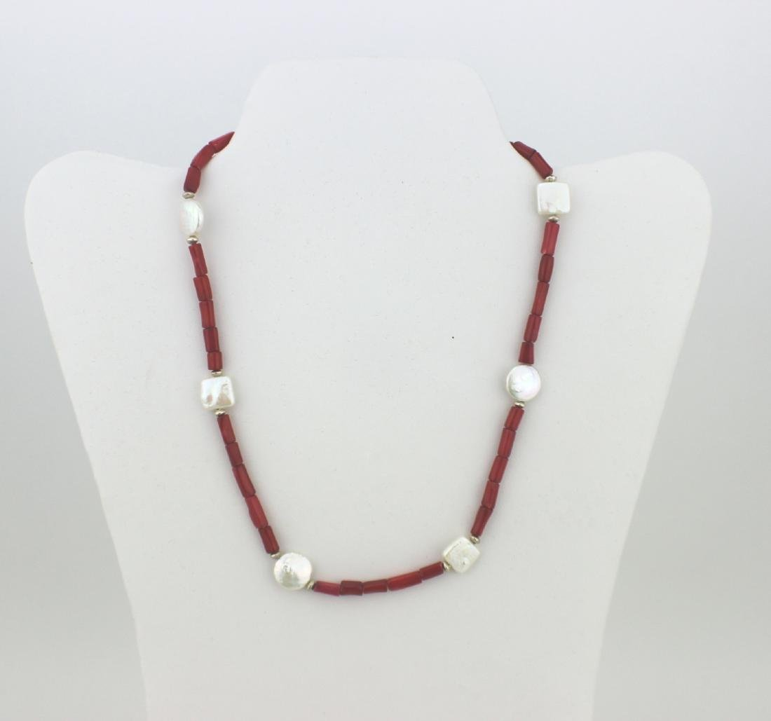 RED CORAL AND PEARL NECKLACE