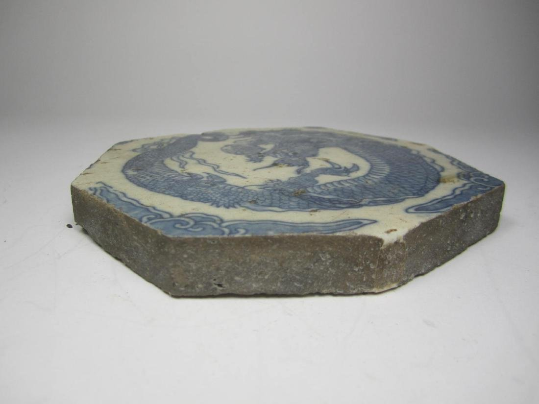 CHINESE BLUE/WHITE DROGON PORCELAIN PIECE - 4
