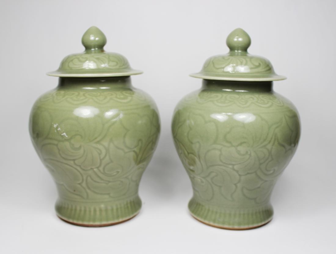 PAIR OF CHINESE CELADON  LIDDED JARS