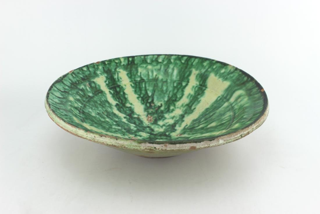 ANTIQUE CHINESE GREEN GLAZE BOWL