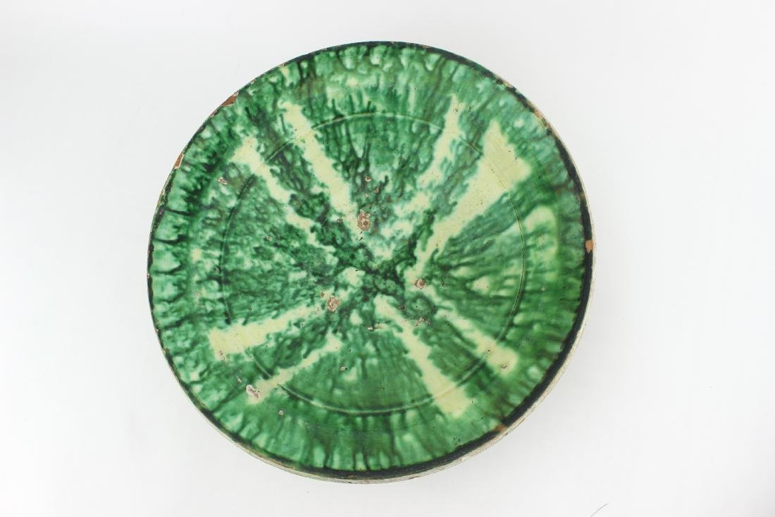 ANTIQUE CHINESE GREEN GLAZE BOWL - 2