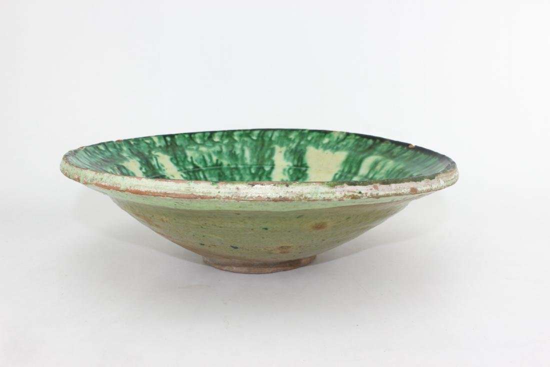 ANTIQUE CHINESE GREEN GLAZE BOWL - 6