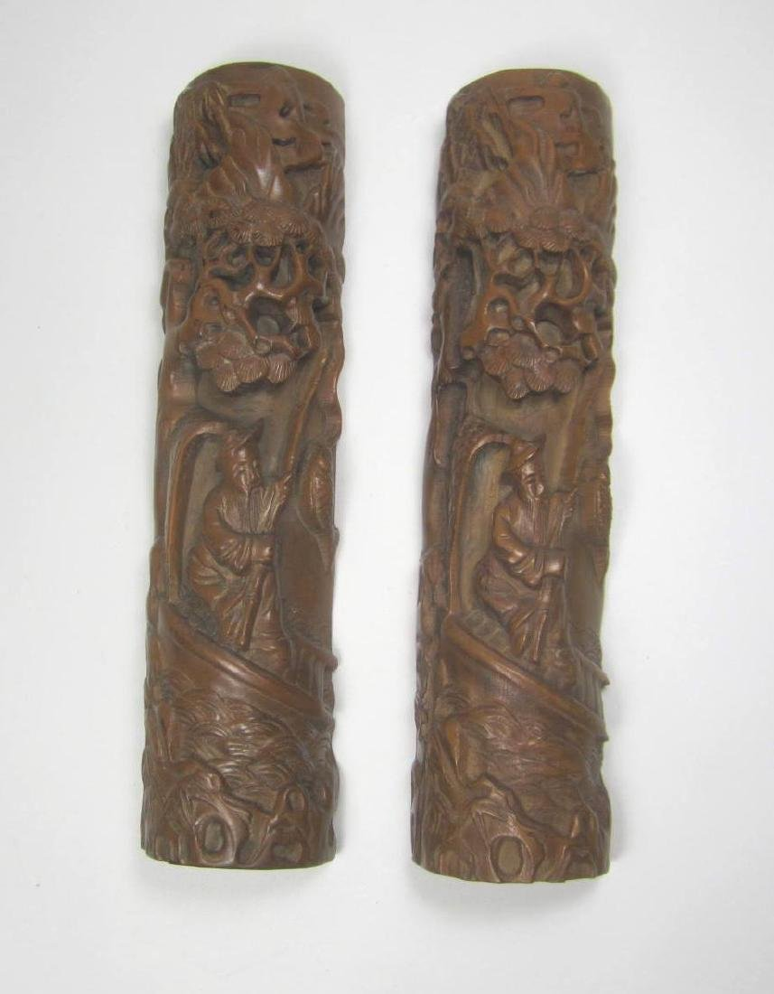 PAIR OF CHINESE CARVED BOXWOOD PAPERWEIGHT