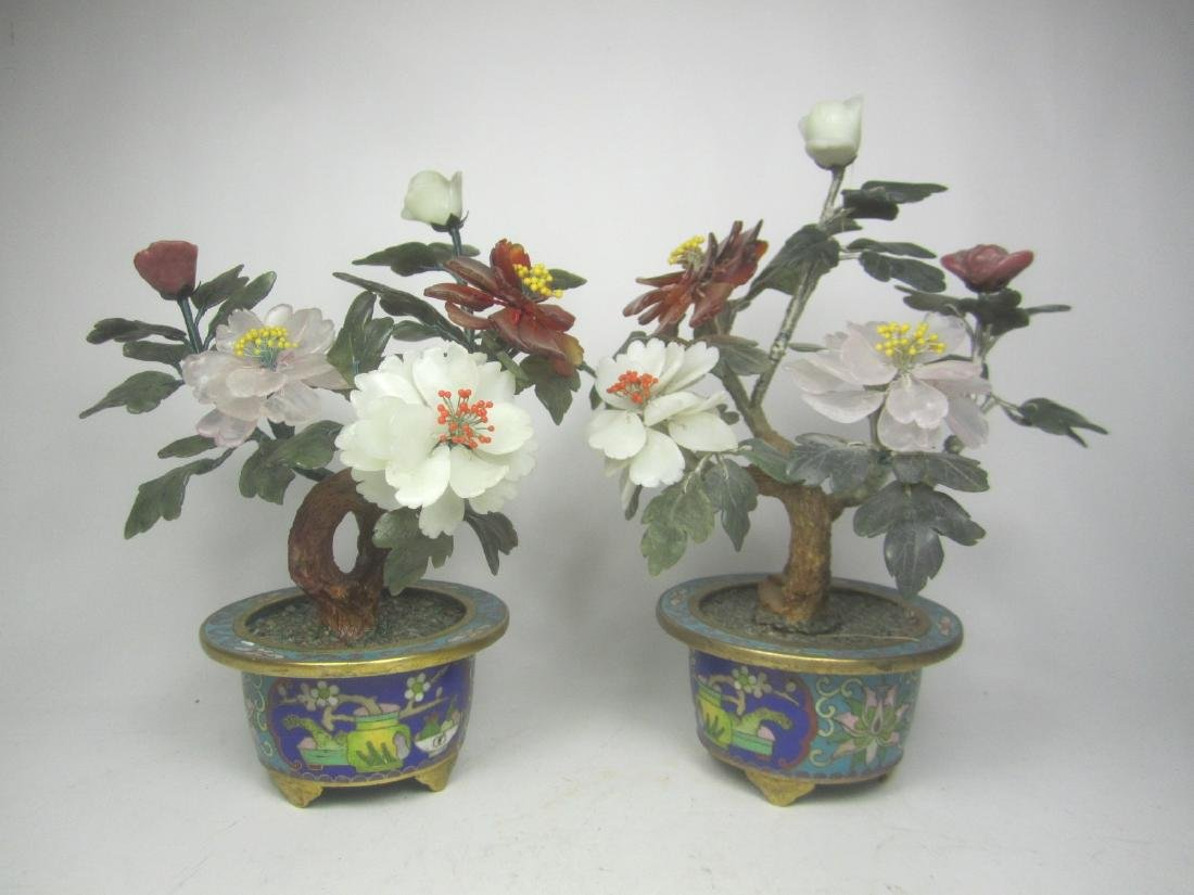 PAIR OF CHINESE JADE TREES IN CLOISONNE POTS