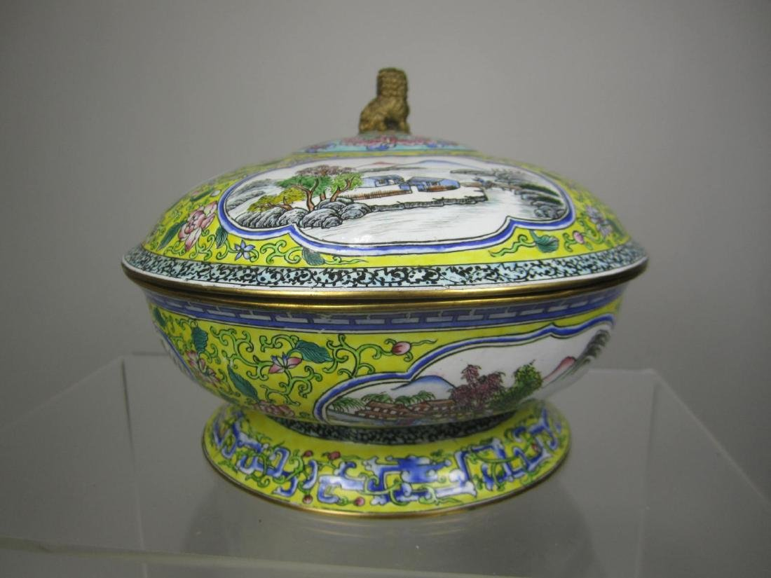 CHINESE ENAMEL LIDDED BOWL