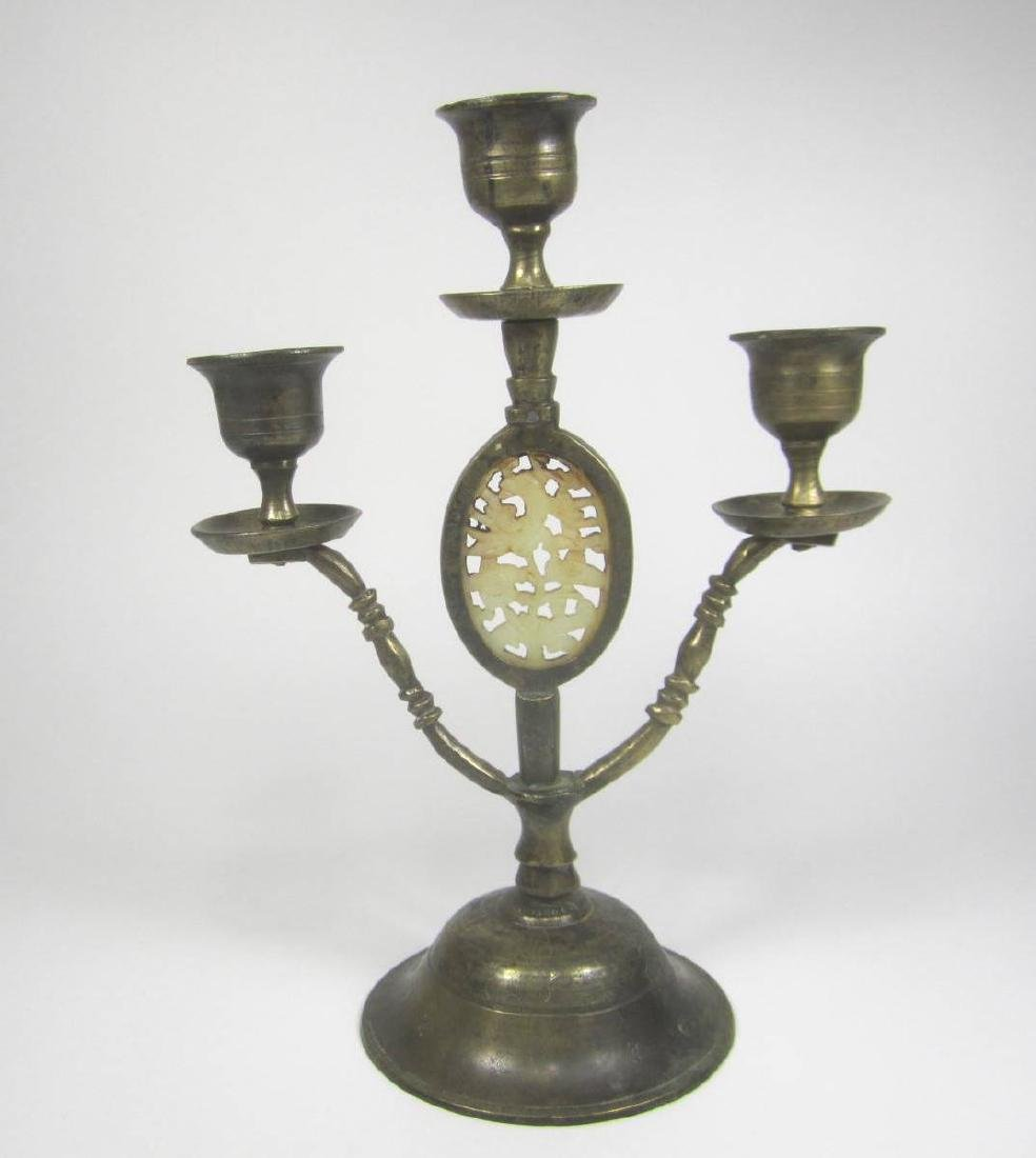 BRONZE CANDLESTICK WITH JADE INSERT