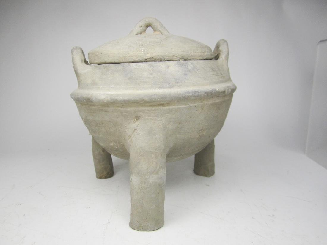 CHINESE ANTIQUE POTTERY TRIPOD  LIDDED JAR - 2