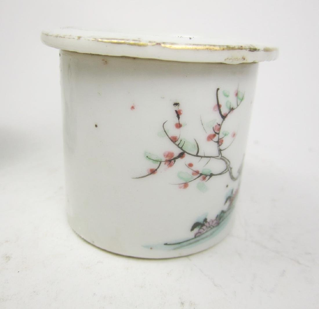 CHINESE FAMILLE ROSE CRICKET JAR W/LID - 2
