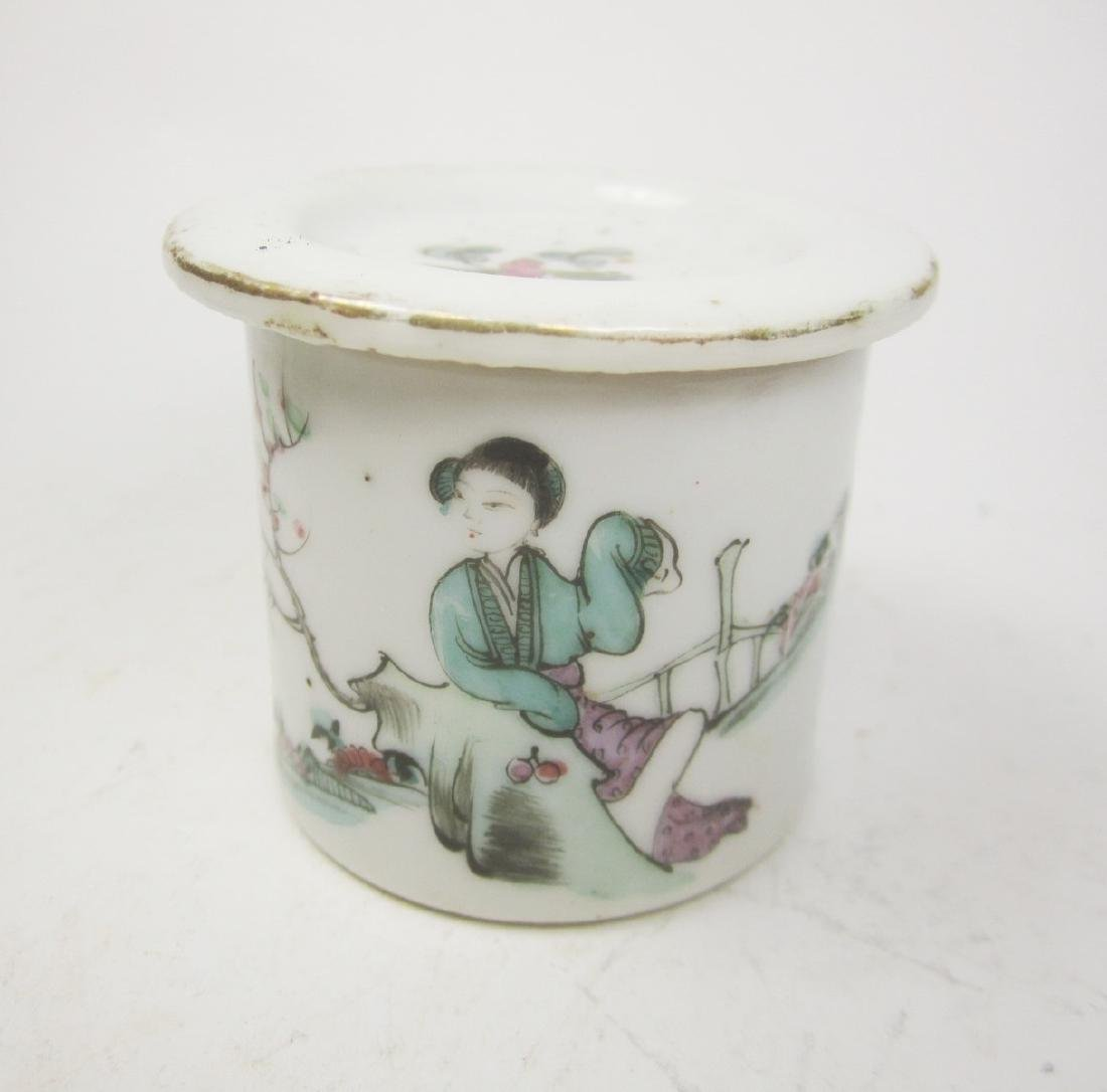 CHINESE FAMILLE ROSE CRICKET JAR W/LID - 4