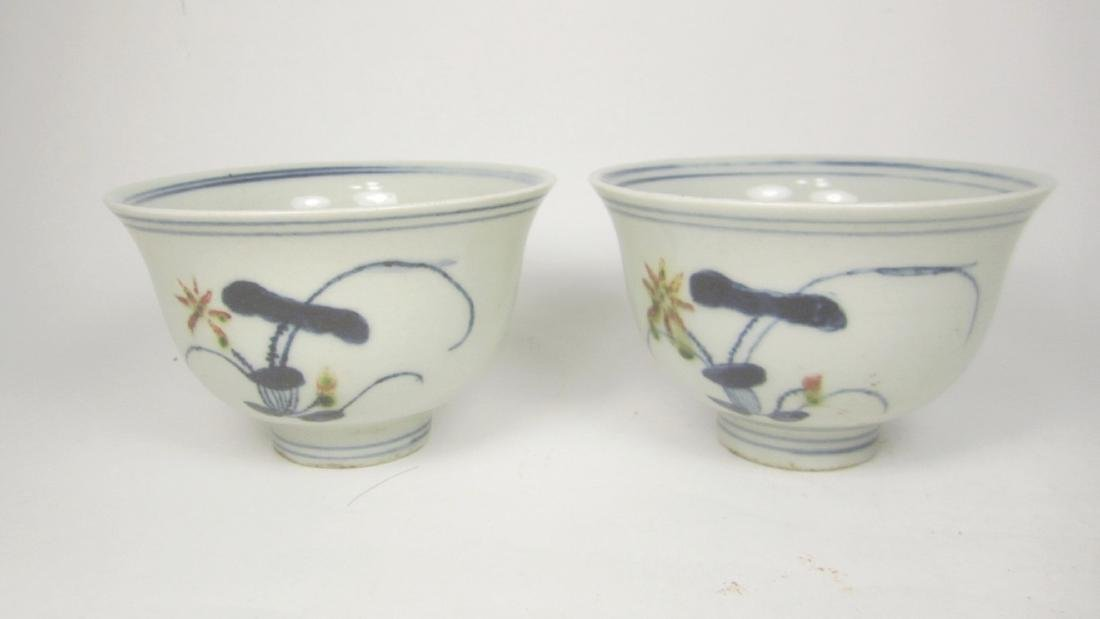 PAIR OF CHINESE B/W UNDERGLAZED RED CUP