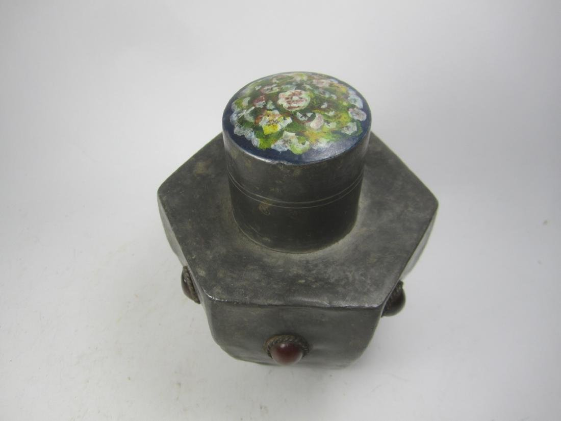 CHINESE HEXAGONAL PEWTER TEA CAN - 2