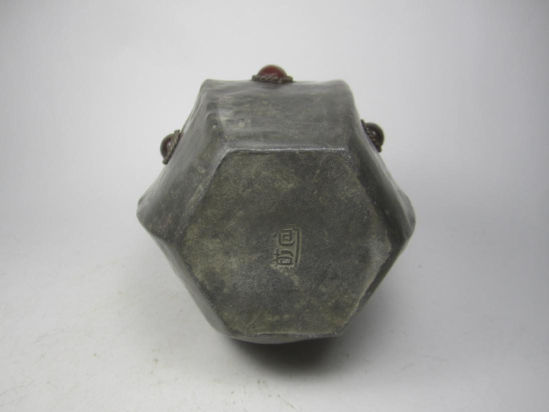 CHINESE HEXAGONAL PEWTER TEA CAN - 3