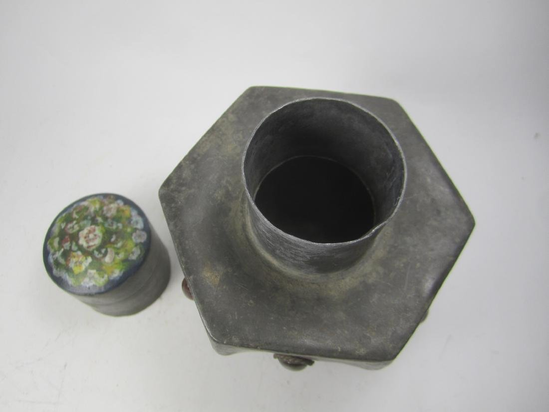 CHINESE HEXAGONAL PEWTER TEA CAN - 4