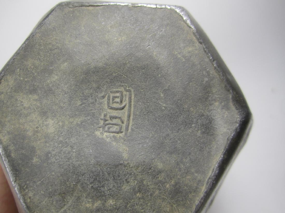 CHINESE HEXAGONAL PEWTER TEA CAN - 5